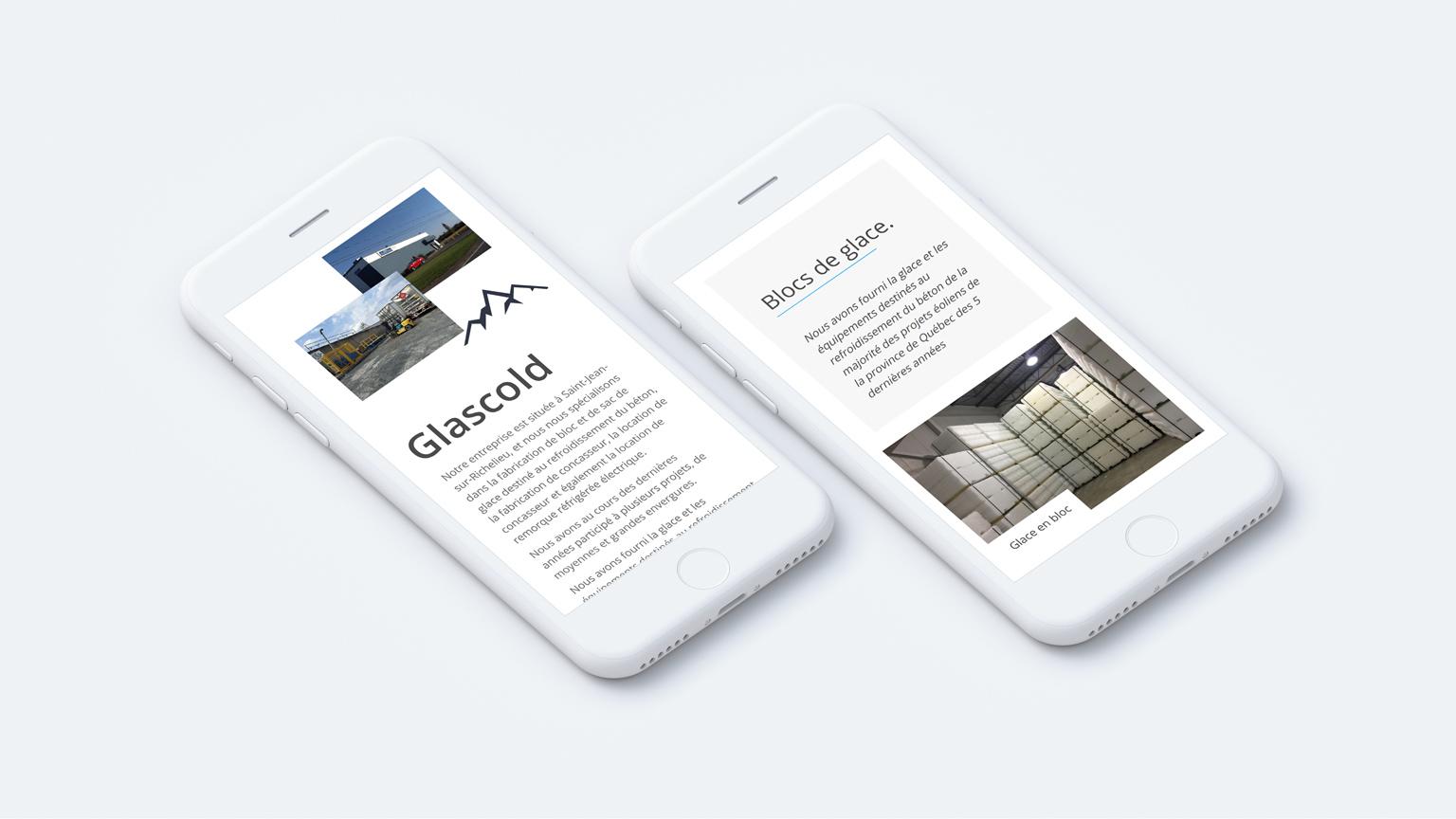 Maquette de deux appareils mobiles affichant le siteweb www.glascold.com